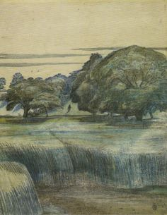 """Paul Nash, The Wanderer, 1911. The Wittenham Clumps were described by Paul Nash, who first saw them in 1911, as """"a beautiful legendary country haunted by old gods long forgotten""""."""