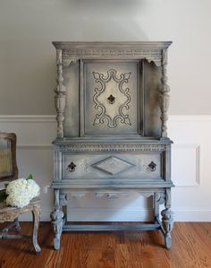 Beautiful Grey China Cabinet by {French Country Design