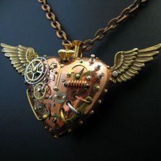 Steampunk Heart Pendant Jewelry Fob Charm Watch Gears Mechanical Machine Valentine  by:-steelhipdesign
