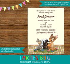 Bambi Baby Shower or Birthday Party Invitations by PartiesByG