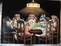 Dogs Playing poker black velvet original oil by VelvetPaintings
