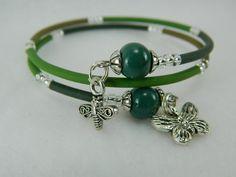 Butterfly and bee charm bracelet with handmade green porcelain beads | Lundela - Jewelry on ArtFire  https://www.facebook.com/Lundela    http://www.artfire.com/ext/shop/studio/Lundela