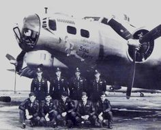 """B17 - """"Stag Party"""" - S/N 43-37837 - This is the plane my Dad co-piloted during WWII stationed in Chelveston, England.  My Dad is standing on the far right."""