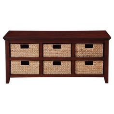 Offering 6 rattan storage baskets and a solid wood frame, this classic console table is perfect for stowing magazines, stationary, and out-the-door essential...