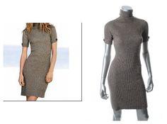 Victoria Secret Sweaterdress S 4 6 Gray Button Short Sleeve Ribbed Turtleneck  #ModaInternational #StretchBodycon #Casual