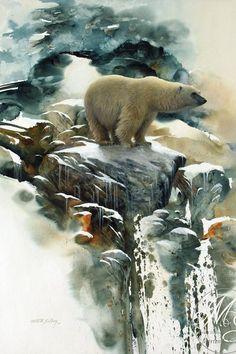 """Morten E Solberg Sr """"Nomad Of The Ice"""" Watercolor 27 1/4 B."""