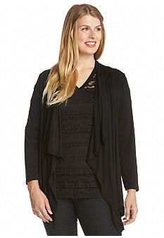 Karen Kane Plus Size Fashion  Black Drape Jacket  Belk Women's Plus Size Spring Summer Fashion #Karen_Kane #Black  #Drape_Jacket #Plus_Size #Fashion #Belk