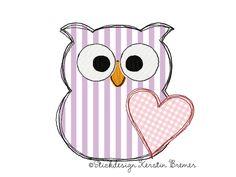 Eule mit Herz ♥ Eulen doodle Stickdatei für eine Stickmaschine. Doodle heart owl appliqué machine embroidery design.  #sticken #eulenliebe