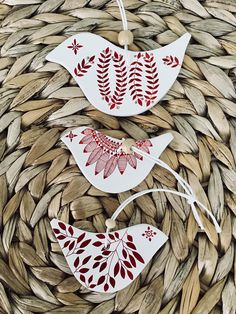 Set of 3 bird shaped Christmas ornaments for the tree this festive season.  This authentic and wintery decoration has been made out of air dry clay, sanded and painted by hand and finished with a satin varnish. I paint and draw all of my designs without stencils. Each item is one of a kind!