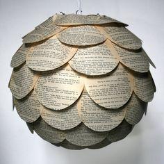 book pages pendant lantern