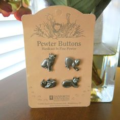 4 Pewter Cat Buttons Danforth Pewterers Vermont by CoconutRoad