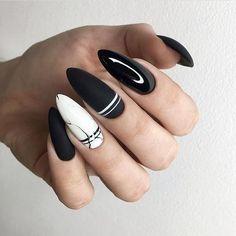 Elegant Black Nails Design Ideas Exceptional Look 2019 - Page 65 of 102 - S. - Elegant Black Nails Design Ideas Exceptional Look 2019 – Page 65 of 102 – S… – Nails A - Black And White Nail Designs, Black And White Nail Art, Black Nails, Black Manicure, 17 Black, Matte Black, Nail Swag, Cute Acrylic Nails, Matte Nails