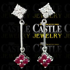 14k White Gold Ruby and .33ct Diamond Flower Cluster Dangle Earrings