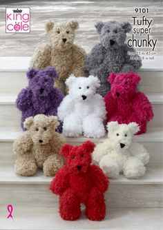Teddy bears to knit in King Cole Tufty Super Chunky yarn Large Bear approx tall and Small Bear approx tall 2 x balls of Tufty for Teddy Bear Patterns Free, Teddy Bear Knitting Pattern, Knitted Teddy Bear, Crochet Bear, Crochet Toys Patterns, Baby Knitting Patterns, Stuffed Toys Patterns, Knitting Yarn, Knitted Bunnies