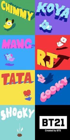 Koya by Rap Monster. RJ by Jin. Shooky by Suga. Mang by JHope. Chimmy by Jimin. Tata by V. Cooky by Jungkook. Jimin, Bts Bangtan Boy, Yoonmin, K Pop, I Love Bts, My Love, Taehyung, Bts Drawings, Bts Chibi