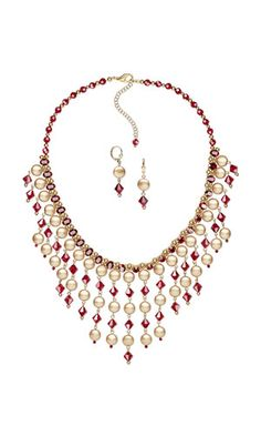 Bib-Style Necklace and Earring Set with Swarovski Crystal and Gold-Plated Brass Beads