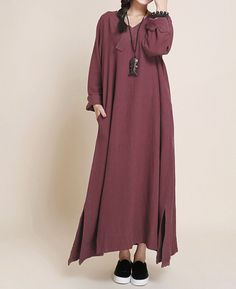 Buddhist red Loose Fitting  womens Long dress Buddhist red maxi dress large size Oversize dress