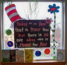 Make a display like this when we do our Dr. Seuss week in the spring