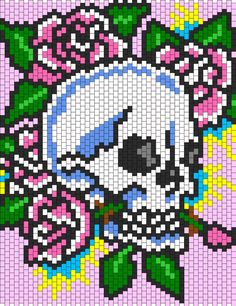 Ed Hardy Skull And Roses bead pattern - Picmia