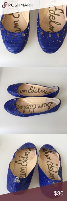 Sam Edelman indigo blue flats Size 9 M This is a pair of Sam Edelman ballerina flats size 9M. cutout detail and a shimmer of silver at toe of flat. Leather upper. Style is Leighton. Silver SE Logo on back. Color- indigo  Blue. Small leather flaw inside bottom left shoe near heel (see last photo) but really not noticeable as it's in the inside but wanted to disclose that. Things happen sometimes with leather. Worn but still lots of life left in them. Really comfy. Look up this brand if you…