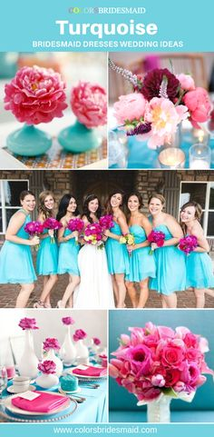 Turquoise bridesmaid dresses short in 200+ styles, cheap $69-99, made to order, all sizes and color sample avail., wonderful to match with pink bouquets. #colsbm #bridesmaids #shortdress #weddingideas #turquoisewedding b720 Turquoise Bridesmaid Dresses, Short Bridesmaid Dresses, Bridesmaids, Short Dresses, Wedding Dresses, Pink Bouquet, Bouquets, B720, Simple Dresses