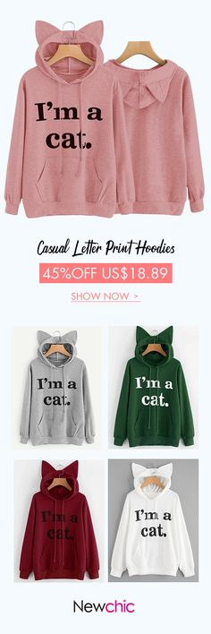 [Newchic Online Shopping] 45%OFF Casual Cat Ears Hoodies for Women