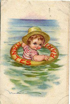 Little Sailor vintage ITALIAN POSTCARD by sharonfostervintage