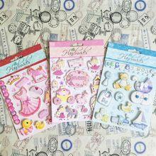 3 conjuntos de rosa princesa coisas 3D para menina e Scrapbooking adesivo(China (Mainland))