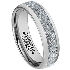6mm Meteorite Ring Tungsten Carbide Polished Wedding Engagement Band