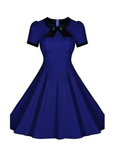 SYLVIEY Womens Scoop Neck Elegant Bow Vintage 1940s Casual Evening Dress L Blue *** Want to know more, click on the image.