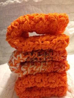 Cozy crochet dishcloth in Tangerine Swirl by AllAboutTheCozy, $6.00