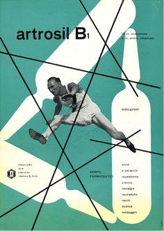 By Franco Grignani (1908-1999), 1949, Artrosil B1, Dompé Pharmaceutical (Milan) .