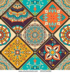 Seamless colorful patchwork tile with Islam, Arabic, Indian, ottoman motifs. Portuguese and Spain decor. Pattern Floral, Pattern Art, Graphic Wallpaper, Wallpaper Backgrounds, Tile Art, Wall Tiles, Patchwork Tiles, Paisley Art, Tuile