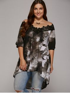 GET $50 NOW   Join RoseGal: Get YOUR $50 NOW!http://www.rosegal.com/plus-size-tops/plus-size-lace-patchwork-asymmetrical-blouse-622953.html?seid=6833286rg622953