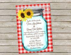 Rustic Sunflower Wedding Invitation, Sunflower Wedding Invitation, Country Wedding Invitation, Mason jar, gingham invitation