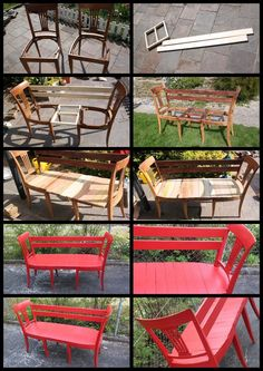 I like instructions with pictures DIY Chair Bench. I like instructions with pictures The post DIY Chair Bench. I like instructions with pictures appeared first on Garten ideen. Repurposed Furniture, Pallet Furniture, Furniture Projects, Furniture Makeover, Home Projects, Repurposed Doors, Porch Furniture, Furniture Stores, Cheap Furniture