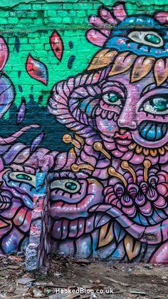 Swedish street artist Amara Por Dios paints a new vibrant street art mural in East London, UK.