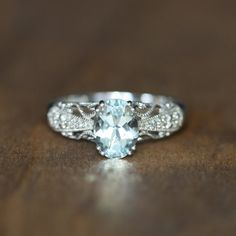 Filigree Diamond and Aquamarine Engagement Ring in 10k by LuxCrown