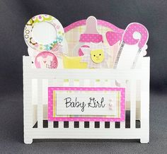 Handmade Baby Girl Crib box card by CraftyGalCards on Etsy