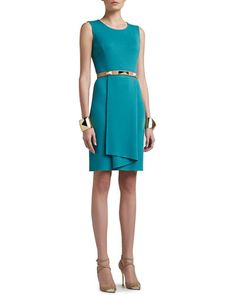 St John Collection: Milano knit sleeveless dress with origami ruffle; wool/rayon fashion fabric