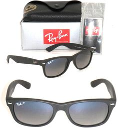 Ray-Ban New Wayfarer RB 2132 601S/78 55MM Matte Black / Blue Grey Gradient Polarized. 100% Authentic and brand new. Package contains:Ray-Ban Original Box, Case, Cleaning Cloth, Ban Literature. New, unused in the original packaging Gender: Unisex Protection: 100% UVA & UVB Lens Technology: Polarized Style: New Wayfarer Made: in Italy MATTE BLACK front color family: black lenses material: crystal lenses : polarized lenses color: polar blue grad. grey Retail: $190.00 Size: 55mm Frame Made :...