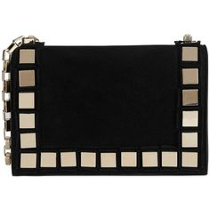 Tomasini Studded Suede Shoulder Bag: Black (56,510 THB) ❤ liked on Polyvore featuring bags, handbags, shoulder bags, clutches, purses, black, studded purse, chain strap purse, suede leather handbags and shoulder bag purse