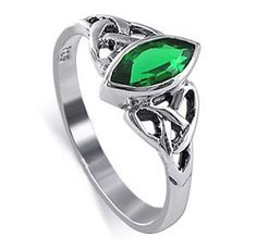 LWRS034-9 Sterling Silver Marquise Shaped 10 x 20mm Emerald