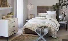 Love the upholstered look.  Do not want white furniture and not a fan of the rug.  New Neutrals Bedroom | West Elm
