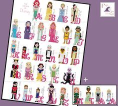 Disney Princess Girl Female Character Alphabet Cross Stitch - PDF Pattern - INSTANT DOWNLOAD by FangirlStitches on Etsy