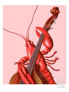 Lobster Playing an Upright Bass Art Print by Pop Ink - CSA Images. Find art you love and shop high-quality art prints, photographs, framed artworks. Framed Artwork, Framed Prints, Wall Art, Best Guitar Players, Double Bass, Illustrations, Jazz Music, Cool Posters, Stretched Canvas Prints