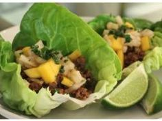 Ground turkey, seasoned with sesame oil, soy sauce and rice wine vinegar, then wrapped in a lettuce leaf with a lime flavored mango and jicama slaw.