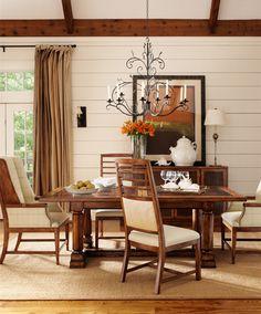 Henredon Spring Lake Dining Room Trestle Table and Dining Chairs  Showroom Details: Henredon Interior Design Showroom