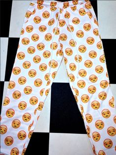 UNISEX! Poly rayon fleece sweatpants ft. #OMIGHTY OG bitch face emoji print  Elastic waistband + Drawstring Oversized and loose fit 100% Sweg included   S/M fits a waist 23-26  M/L fits a waist 27-30