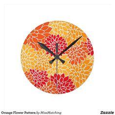Orange Flower Pattern Round Clock